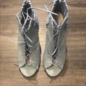 Light denim lace up heel